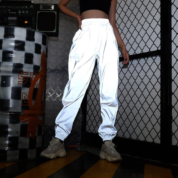 Women High Waist Hip Hop Reflective Pants