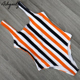 One Piece Striped Swimwear