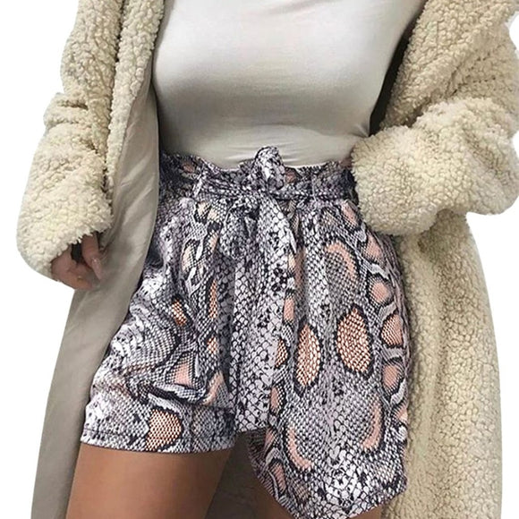 Fashion Snake Print High Waist Shorts
