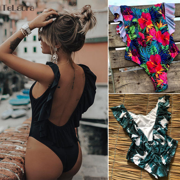 Sexy Ruffle One Piece Swimsuit