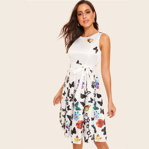 Floral And Butterfly Print Belted White Dress
