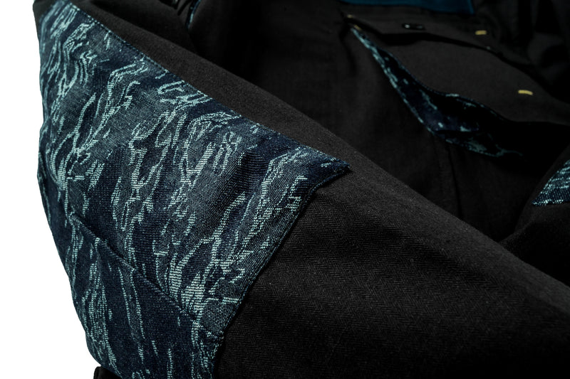 Jungle Jacket Herringbone/Indigo Camo Jacquard Black