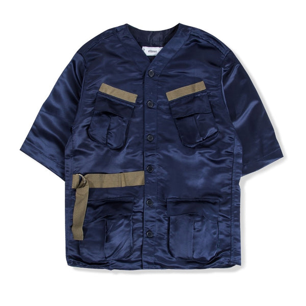Jungle Jersey Sateen Destruction Navy