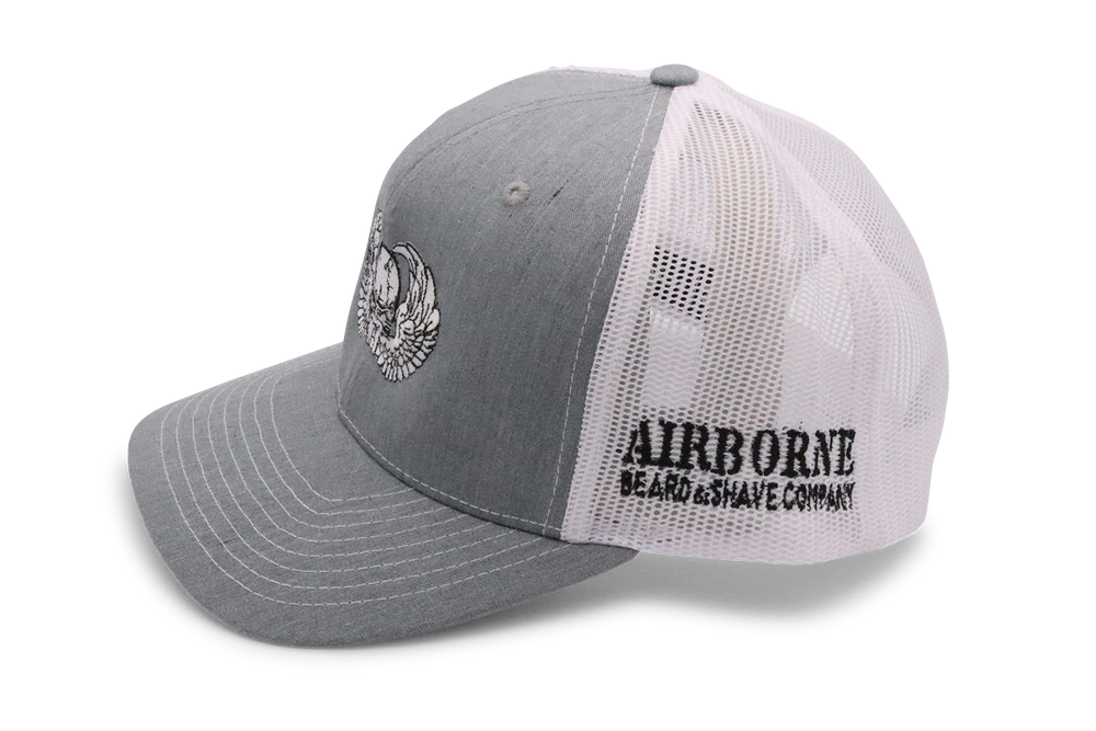 Grey and White Hat - Airborne Beard and Shave Company