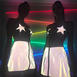 SEXY REFLECTIVE STAR CROSSED TOP - Official Raveology