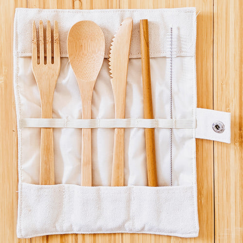 Bamboo Utensil Set in Carrying Case (5 pc)