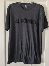 Load image into Gallery viewer, Soft lightweight heather charcoal men's tee with 'AI PŌHAKU in black ink on the chest