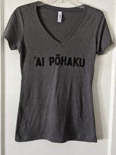 Load image into Gallery viewer, Soft lightweight dark gray women's tee with 'AI PŌHAKU in black ink on the chest