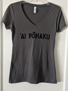 Soft lightweight dark gray women's tee with 'AI PŌHAKU in black ink on the chest