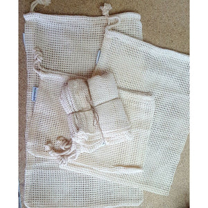 Cotton Drawstring Bags, set of three