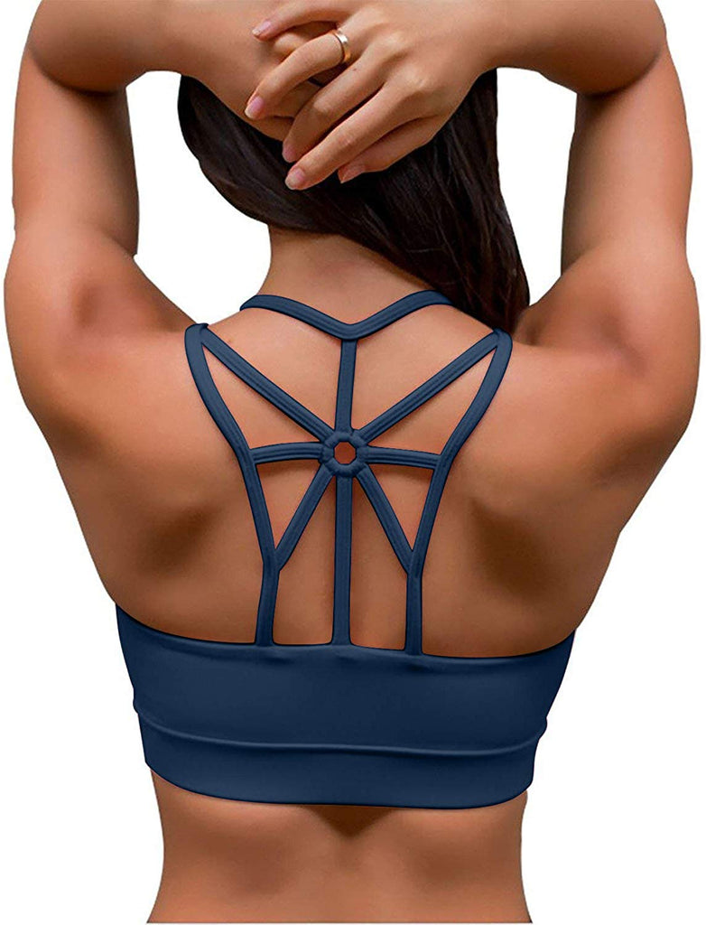 YIANNA Women's Padded Sports Bra Support Corss Back Wirefree Workout Gym Running Yoga Bras