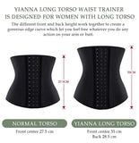 YIANNA Long Torso 17 Steel Bone Latex Waist Trainer Corset Sports Workout Underbust Waist Trimmer Hourglass Body Shaper