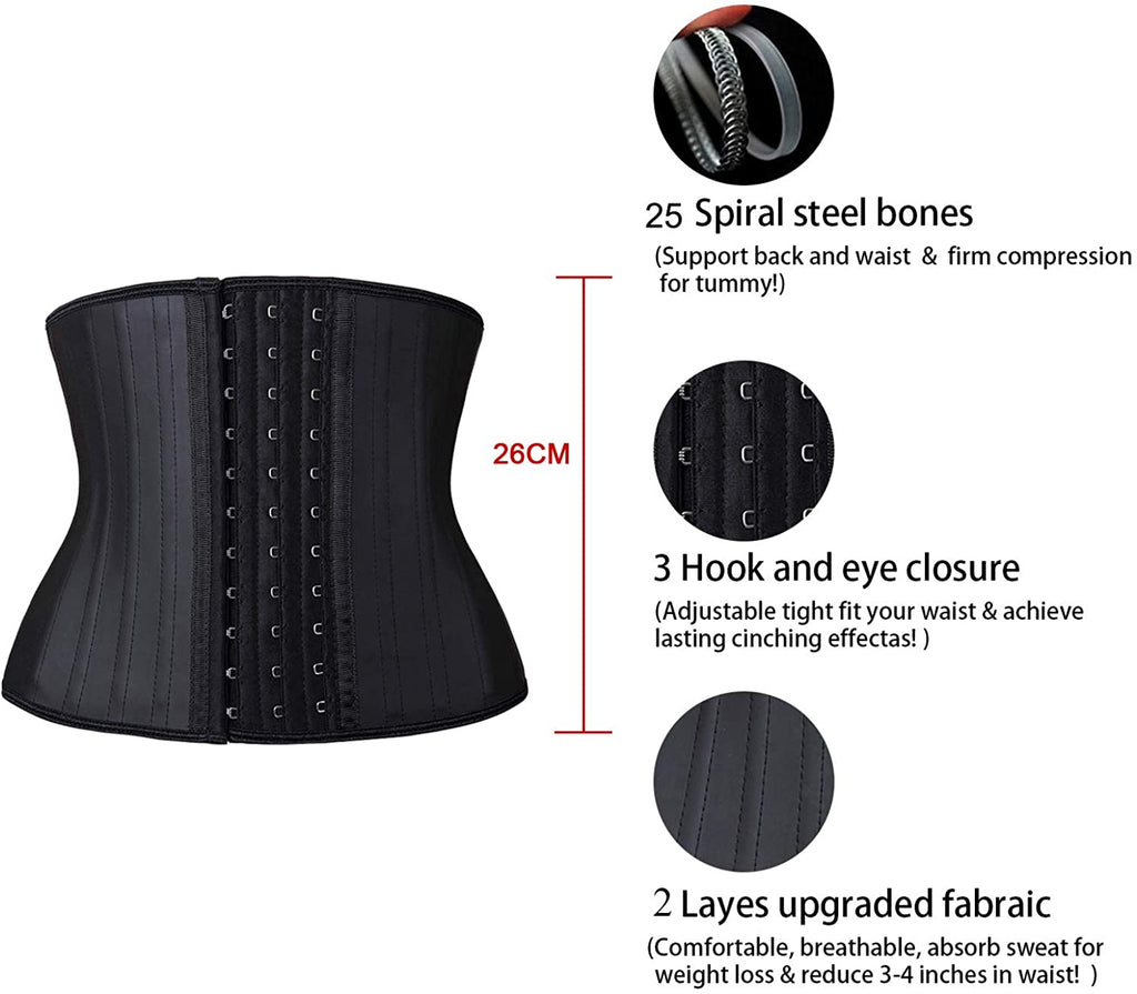 25 Bones Latex Short Torso Waist Trainer Corsets for Weight Loss Hourglass Body Shaper