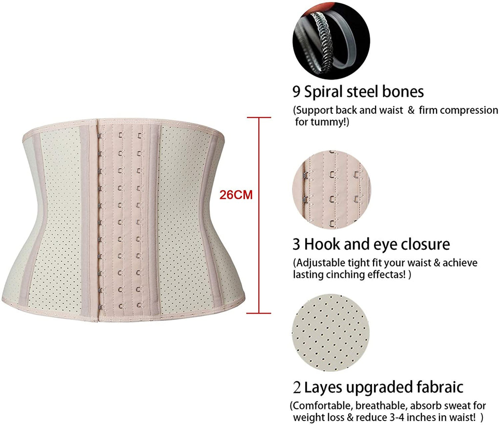 YIANNA Women Short Torso 9 Bones Waist Trainer Corset for Weight Loss Hourglass Body Shaper Tummy Control