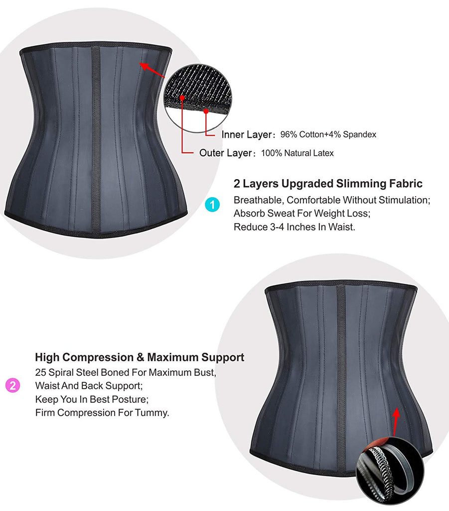 YIANNA 25 Steel Boned Latex Waist Trainer for Weight Loss Underbust Hourglass Body Shaper