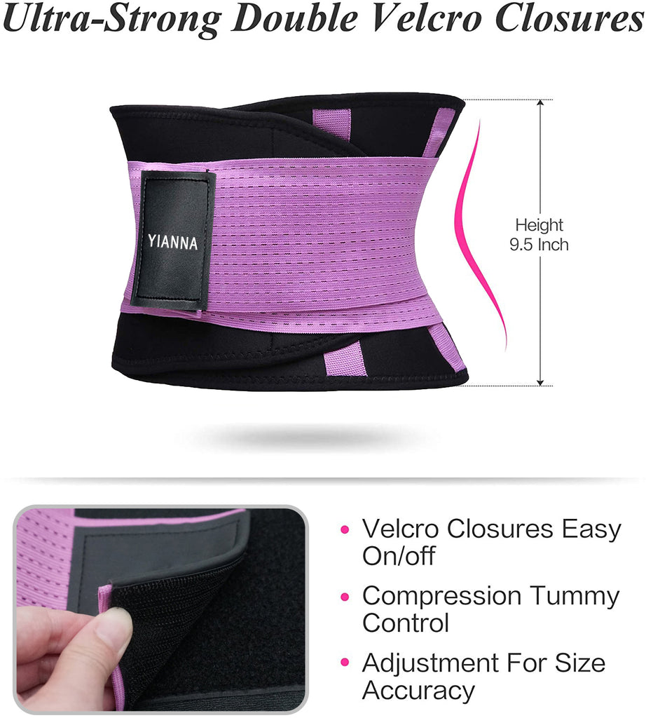 YIANNA Waist Trainer Belt for Weight Loss Sweat Belly Wrap Trimmer Slimmer Compression Band Workout Gym