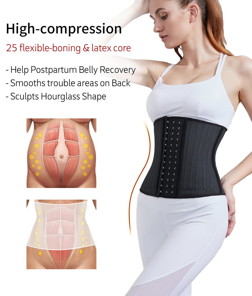 YIANNA Breathable 25 Steel Bones Waist Trainer for Weight Loss Slimmer Cincher Latex Underbust Corset Body Shaper