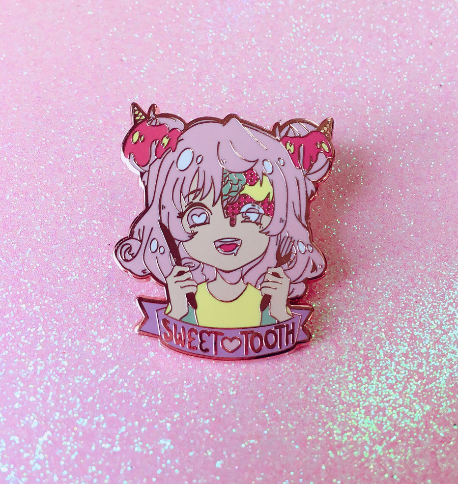 Sweet Tooth Enamel Pin-Enamel Pin-Ibble's Scribbles-Ibble's Scribbles-charm-pastel-kawaii-cute