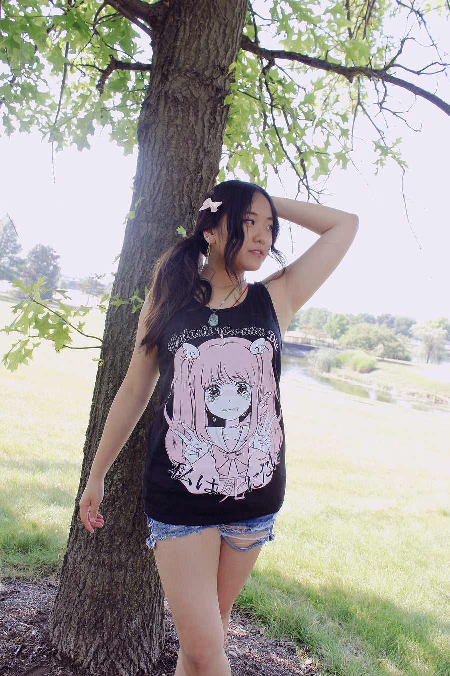 Watashi Tank Top-Tank Top-Ibble's Scribbles-Small-Black-Ibble's Scribbles-charm-pastel-kawaii-cute