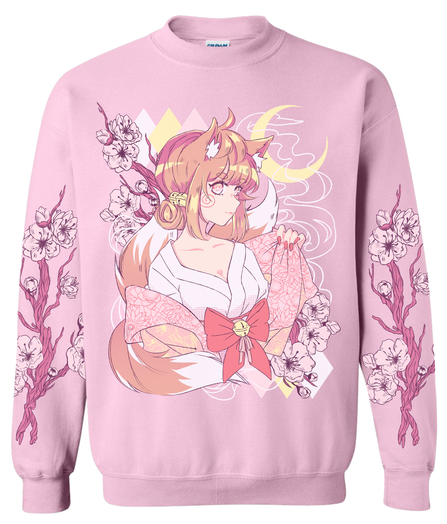 Cherry Blossom Sweater (Pre-Order)-Sweater-Ibble's Scribbles-Small-Pink-Ibble's Scribbles-charm-pastel-kawaii-cute