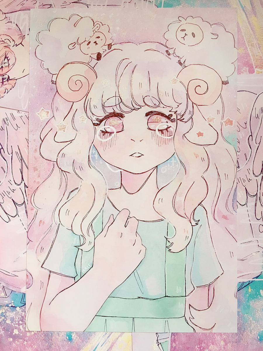 Inktober 2017 Prints-Print-Ibble's Scribbles-Sheep Girl-Ibble's Scribbles-charm-pastel-kawaii-cute