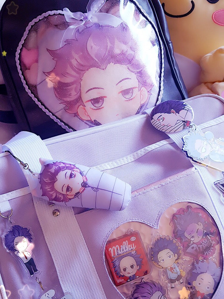 BNHA Mini Sleeping Bag Plush Charms (STUFFED)-Pillow-Ibble's Scribbles-Shinsou (Purple)-Ibble's Scribbles-charm-pastel-kawaii-cute