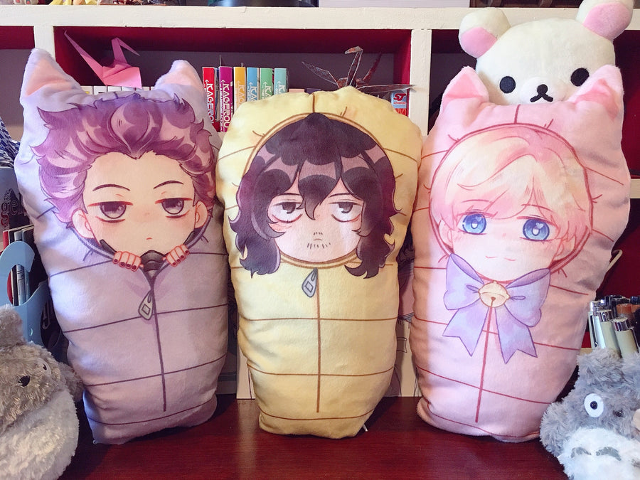 BNHA Sleeping Bag Pillows-Pillow-Ibble's Scribbles-Shinsou (Purple)-Ibble's Scribbles-charm-pastel-kawaii-cute