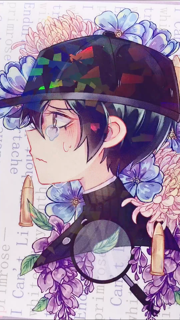 DRV3 Flower Language Mini Prints (Holographic)-Mini Print-Ibble's Scribbles-Rantaro (Green)-Ibble's Scribbles-charm-pastel-kawaii-cute
