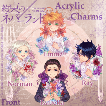 (PRE-ORDER) The Promised Neverland Flower Language Acrylic Charms