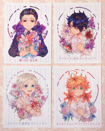 The Promised Neverland Flower Language Mini Prints (HOLOGRAPHIC)