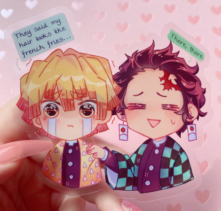 Kimetsu Tanjiro and Zenitsu Transparent Vinyl Sticker