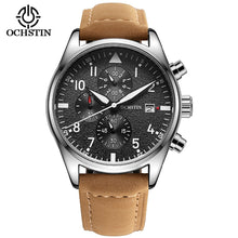 Load image into Gallery viewer, Luxury Mens Pilot Watches Chronograph 6 Hands Leather Automatic Date Men Waterproof Quartz Aviator Military Watch Reloj Hombre