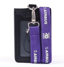 Load image into Gallery viewer, Airbus Logo Lanyard with ID Card Holder PU Leather Badge Case