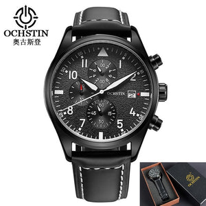 Luxury Mens Pilot Watches Chronograph 6 Hands Leather Automatic Date Men Waterproof Quartz Aviator Military Watch Reloj Hombre