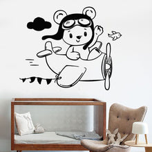 Load image into Gallery viewer, Teddy Bear Airplane Wall Sticker