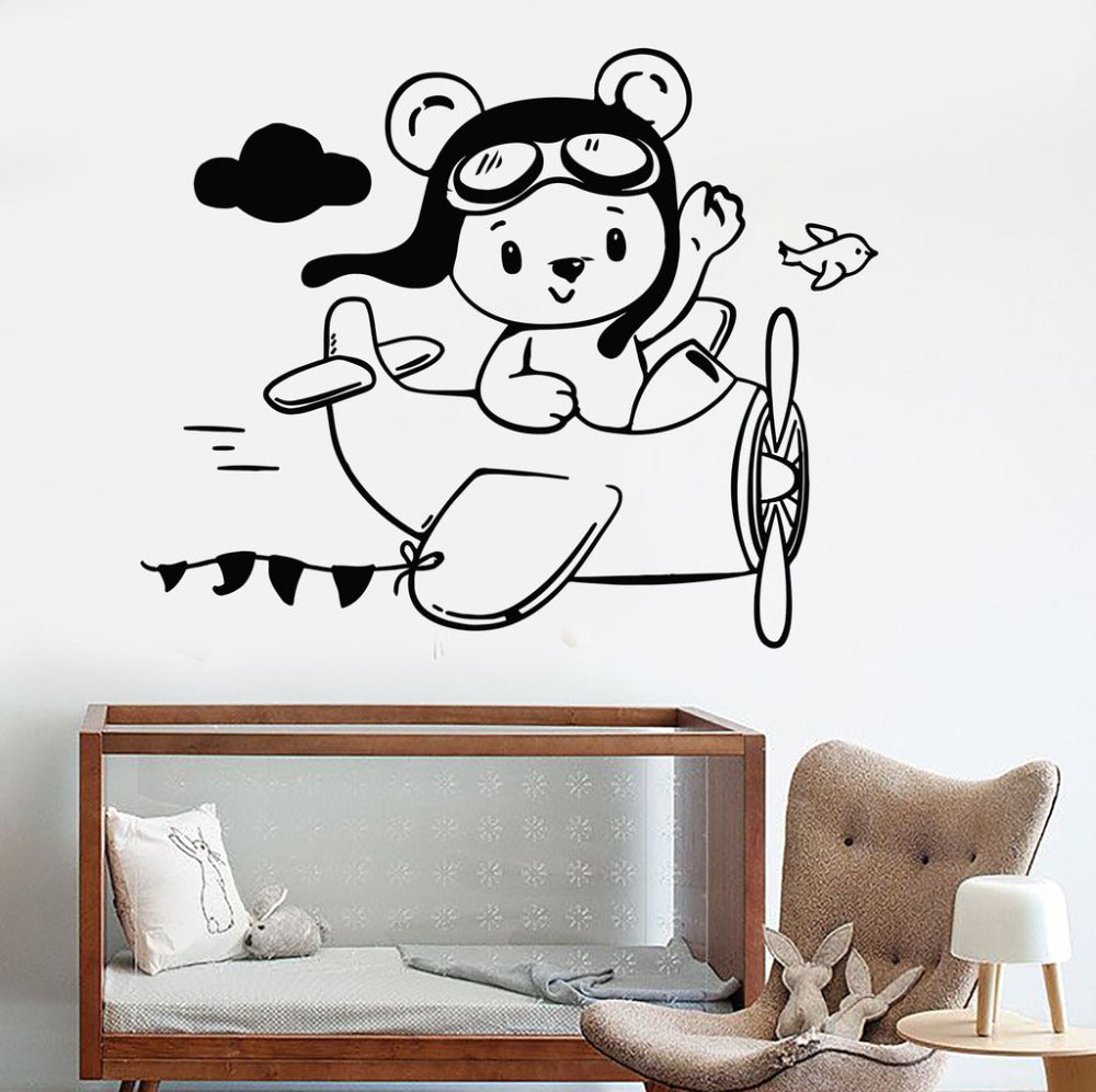 Teddy Bear Airplane Wall Sticker