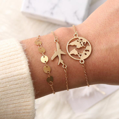 World Map Charm Bracelets