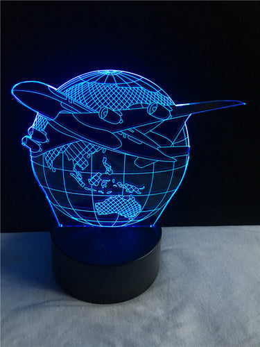 Airplane Around The Earth 3D Lamp