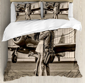 Vintage Airplane Decor Duvet