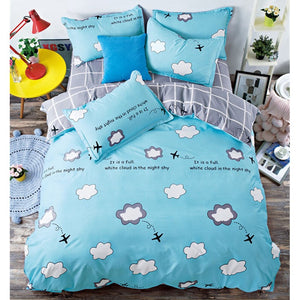 Blue cartoon airplane bed cover