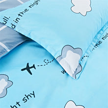 Load image into Gallery viewer, Blue cartoon airplane bed cover