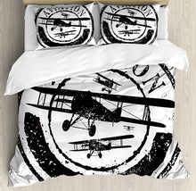 Load image into Gallery viewer, Vintage Airplane Duvet Cover