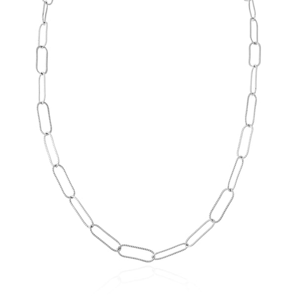 Sondr London - The Deia Textured Link Chain Necklace - Silver