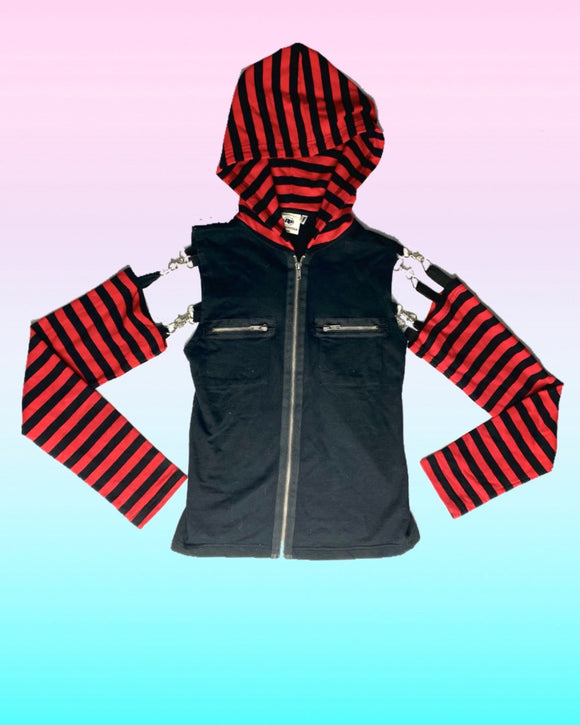 Red Striped Buckle Sleeve Jacket