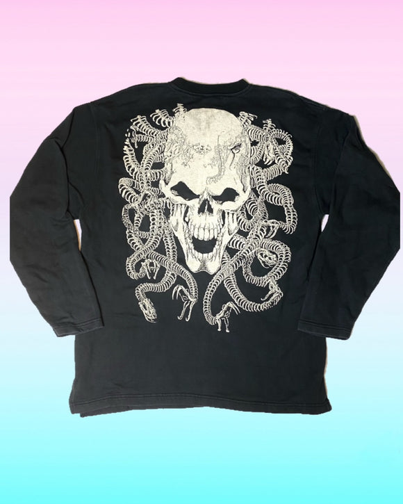 Vintage Sweater with Skull & Snakes Print