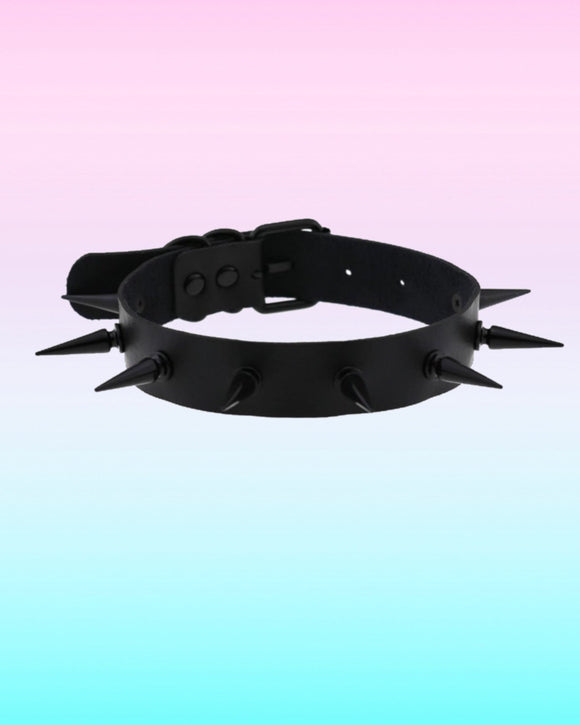 All Black Spikes Choker