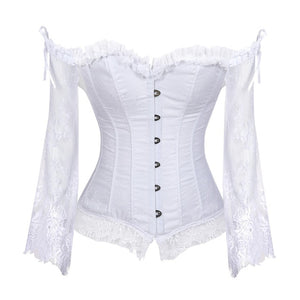 Renaissance Floral Lace Corset with Sleeves [3 Colors]