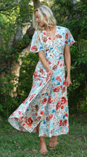 Load image into Gallery viewer, White Floral Latalia V Neckline Full Length Maxi Dress