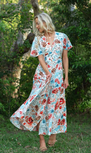 White Floral Latalia V Neckline Full Length Maxi Dress