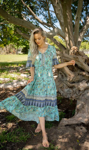 Aqua Bohemian Maxi Dress with Detailed Sleeve